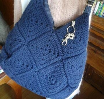 sac bleu crochet